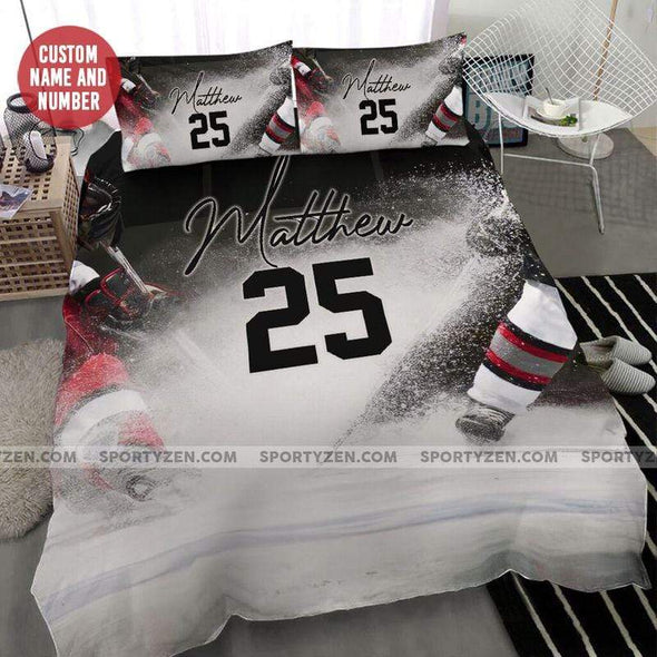 Ice Hockey Cool Chasing The Puck Personalized Name Duvet Cover Bedding Set #2108L