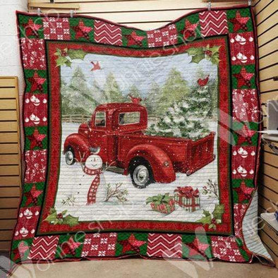 Christmas Car With Cardinal Quilt Blanket