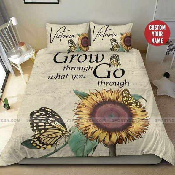 Sunflower Butterfly Grow Through Bedding Personalized Name Duvet Cover Bedding Set #2206H