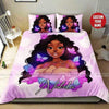 Butterfly Pink Black Girl Personalized Name Duvet Cover Bedding Set #236H