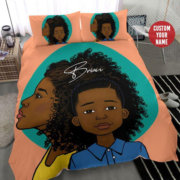 African American Black Mom And Son Background Bedding Personalized Name Duvet Cover Bedding Set #2407H