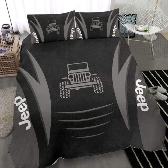 Cool Jeep Black Metal Pattern Duvet Cover Bedding Set #2411l