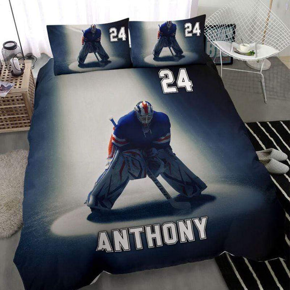 Ice Hockey Goalie Shadow Bedding Set with Your Name #259h