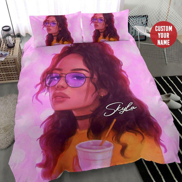 Black girl wearing glasses drink Personalized name Duvet Cover Bedding Set #268H
