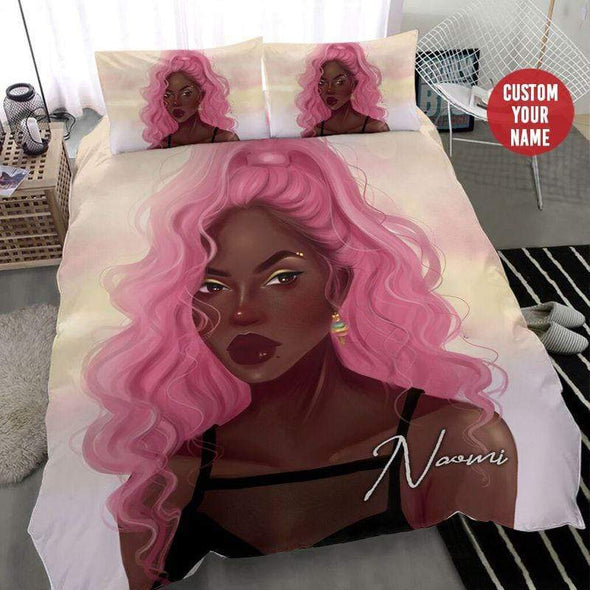 Black girl Pink Long Hair Personalized name Duvet Cover Bedding Set #268H