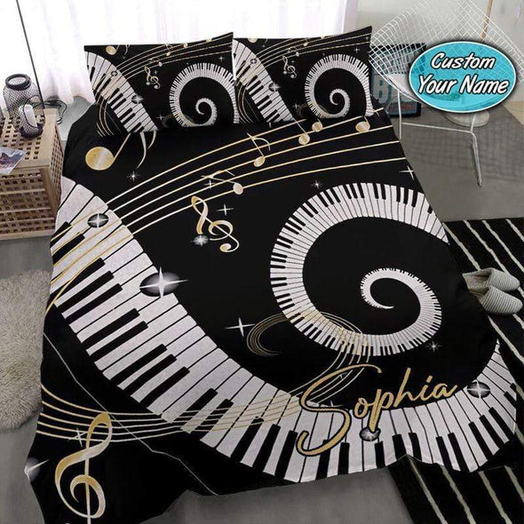 Music Sheet Piano Personalized Name Duvet Cover Bedding Set #2608V