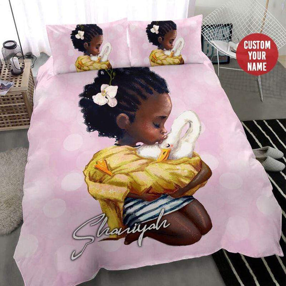 Black Little Girl With Swan Personalized Name Duvet Cover Bedding Set #2707H