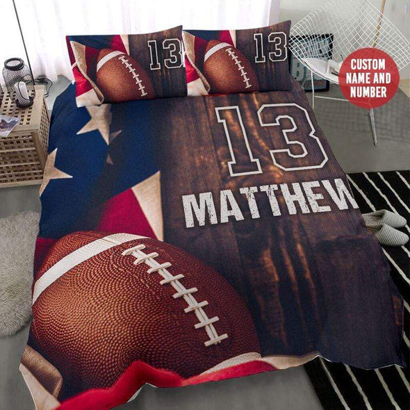 Football Flag Vintage Personalized Duvet Cover Bedding Set with Your Name #2708H