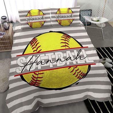 Softball Ball Personalized Duvet Cover Bedding Set with Your Name #283l