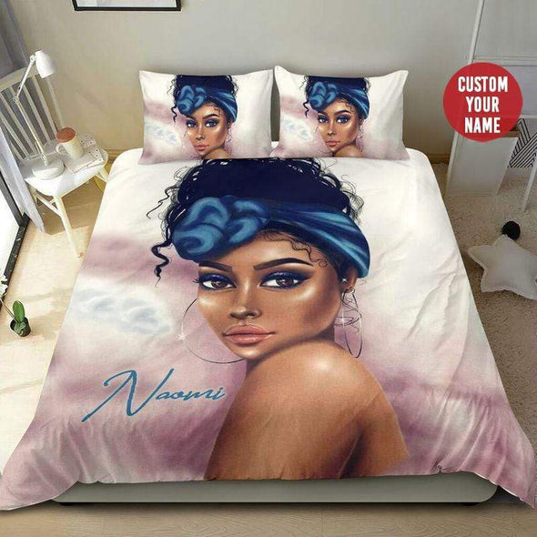 Black Woman Pretty Eyes Bedding Personalized Name Duvet Cover Bedding Set #2807H