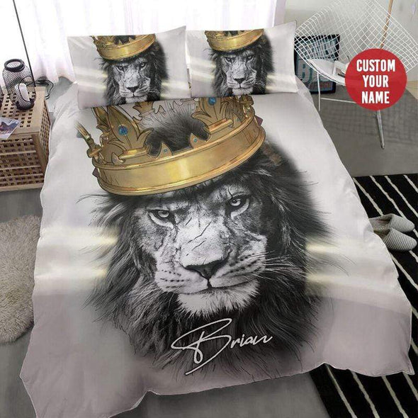 Lion Crown King Personalized Name Duvet Cover Bedding Set #287H