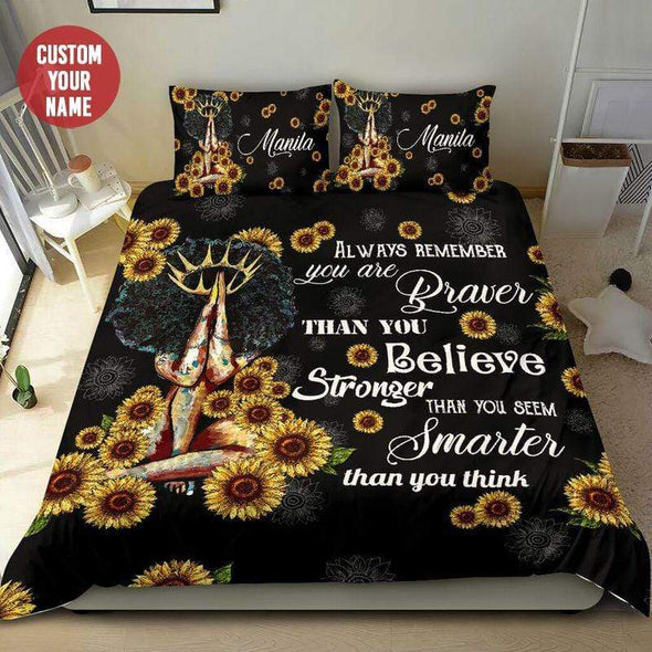 Black Girl You Are Brave, Strong, Smarter Personalized name Duvet Cover Bedding Set #298L