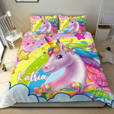Personalized Unicorn Rainbow Personalized Kid Duvet Cover Bedding Set with Your Name #0505h