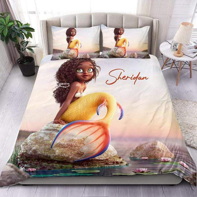 Beautiful mermaid black girl African Personalized Name Duvet Cover Bedding Set #1706h