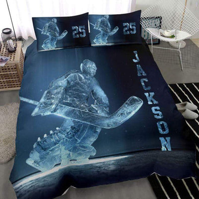 Ice Hockey Goalie Personalized Duvet Cover Bedding Set with Your Name #243l