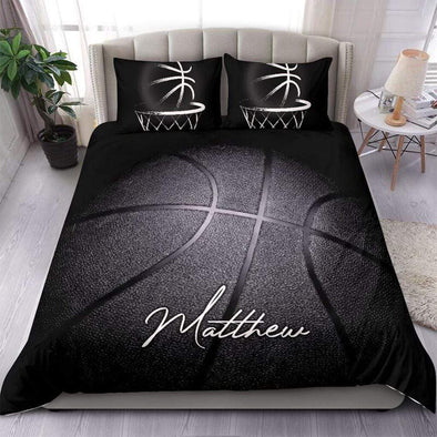 Black Basketball Personalized Duvet Cover Bedding Set with Your Name #0705h
