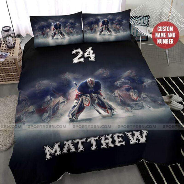 Hockey player Personalized Duvet Cover Bedding Set with Your Name #3006h