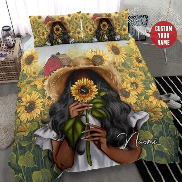 Black girl Sunflower Beautiful Personalized Name Duvet Cover Bedding Set #317H
