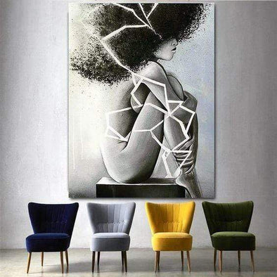 Black Girl Afro Black And White Canvas Prints