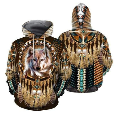 Native American Wolf Tribe Hoodie 3D All Over Print
