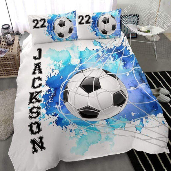 Soccer Goal Personalized Duvet Cover Bedding Set with Your Name #303l