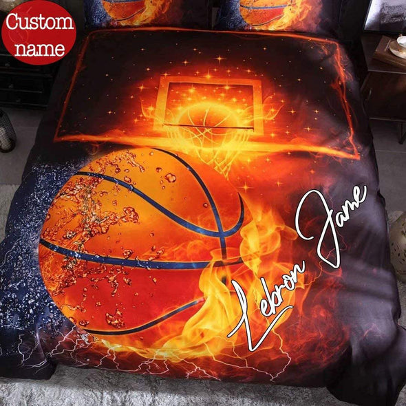 Basketball Fire Duvet Cover Bedding Set with Your Name #V