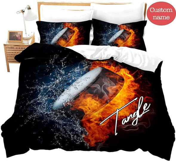 Ice Hockey Fire Duvet Cover Bedding Set 3D Printing Ball with Your Name