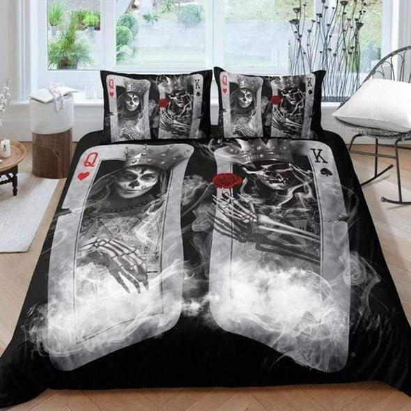 Skull King and Queen couple Personalized Name Duvet Cover Bedding Set #V