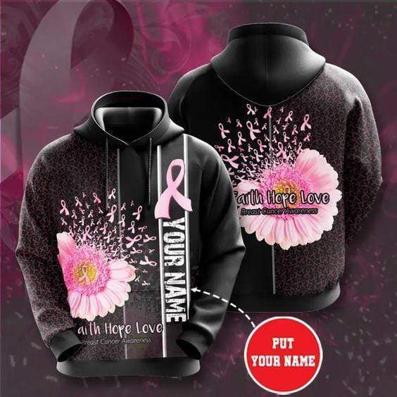 BC Faith Love Hope Pink Ribbon Blowing Custom Name Hoodie 3D All Over Print