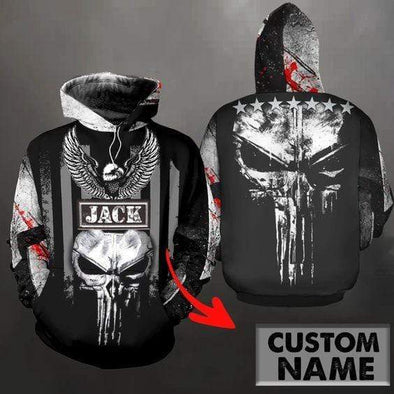 PNS Skull Custom Name Hoodie 3D All Over Print