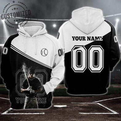 Baseball Player Smoke Personalized Custom Name And Number Hoodie 3D