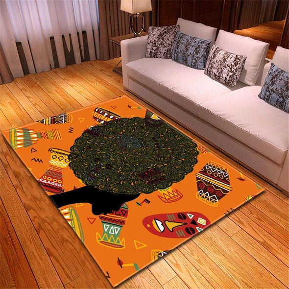 Afro Black Woman African Rectangle Rug
