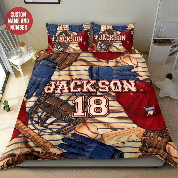Personalized Baseball Pattern Duvet Cover Bedding Set with Your Name #99l