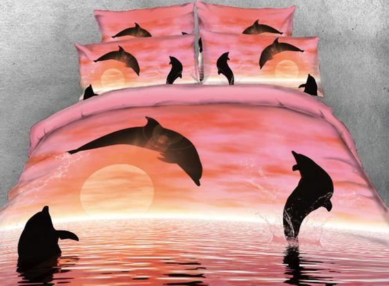 Jumping Dolphin duvet cover bedding set #DH