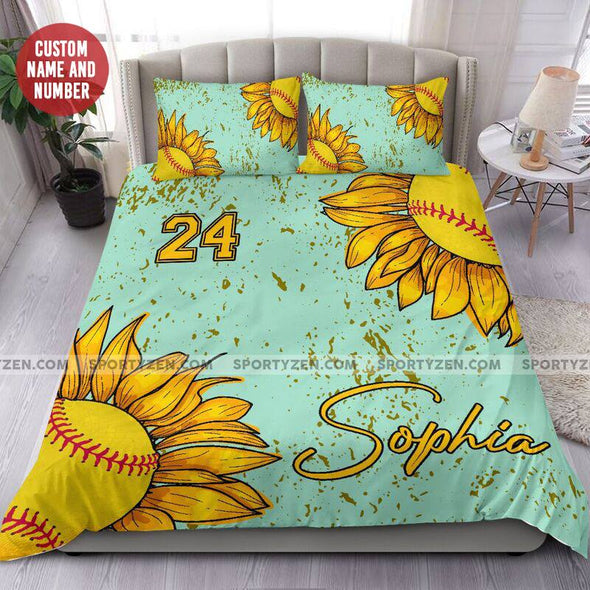 Sunflower Softball Personalized Duvet Cover Bedding Set with Your Name