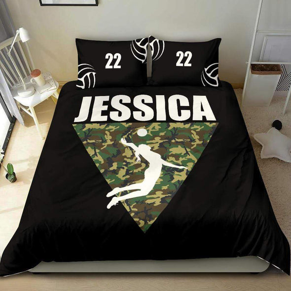 Volleyball Triangle Camo Personalized Duvet Cover Bedding Set with Your Name And Number