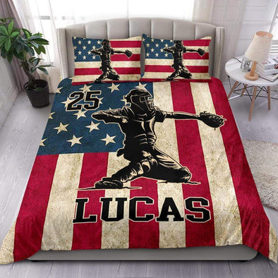 American Flag Catcher Personalized Duvet Cover Bedding Set with Your Name