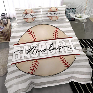 Baseball Ball Personalized Duvet Cover Bedding Set with Your Name #283l