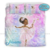 Personalized Balerina Black Little Girl Ballet Dance To The Moon Personalized Name Duvet Cover Bedding Set #2407DH