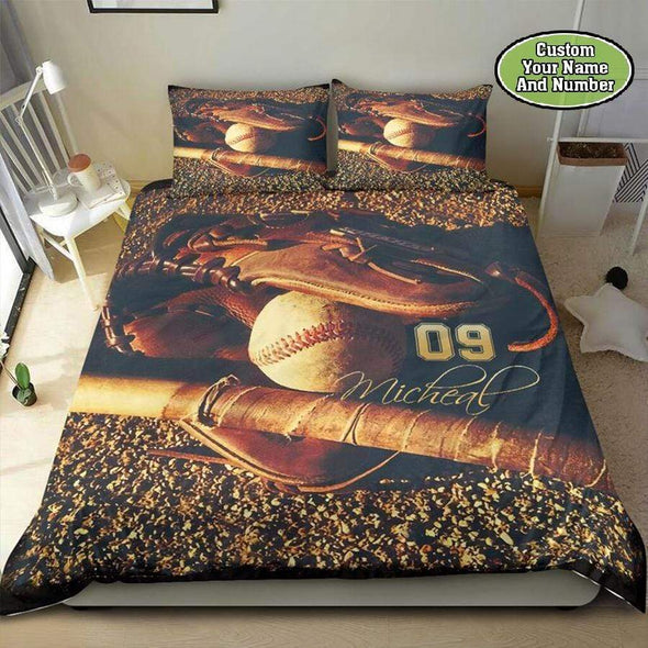 Baseball Ball Ground Personalized Duvet Cover Bedding Set with Your Name #2109DH