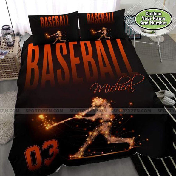 Baseball Orange Light Personalized Duvet Cover Bedding Set with Your Name and Number #1008DH