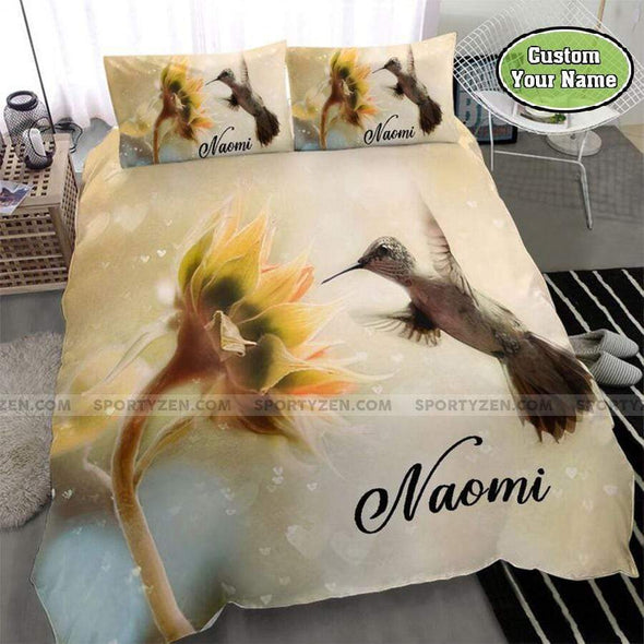 Sunflower and Hummingbird Personalized Name Duvet Cover Bedding Set #1208DH