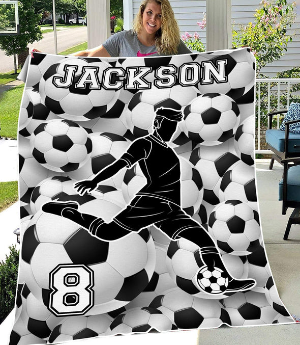 Black White Personalized Soccer Player Blanket Custom Name Number Blankets #HL