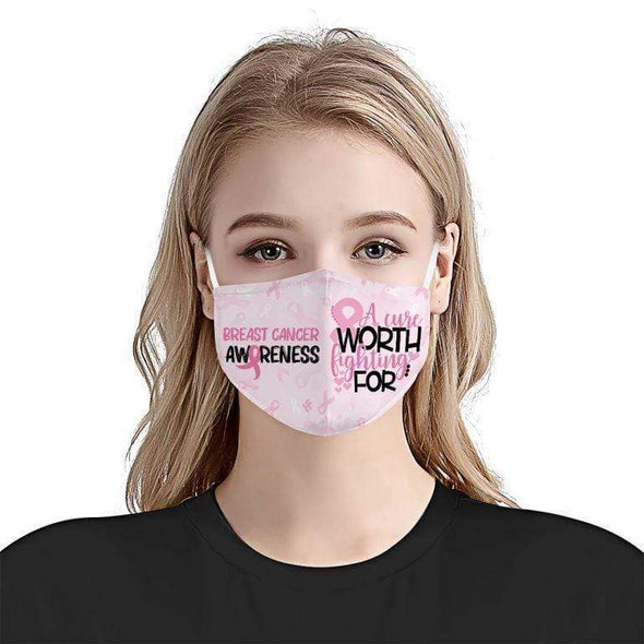 A Cure Worth Fighting For Breast Cancer Awareness Full printed Face Mask
