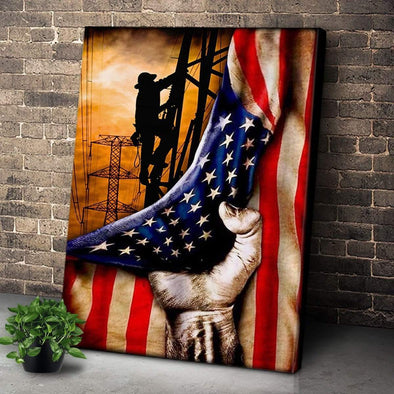 Beautiful Lineman Working In The Sunset Flag Canvas Wall Art