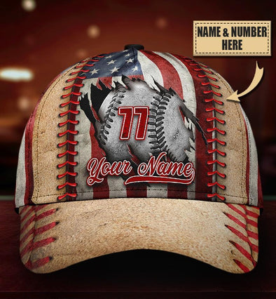 Custom Name And Number Baseball Vintage Flag Classic Cap Hats Head Wear