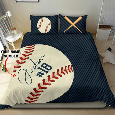 Customized Duvet Cover Baseball Navy Bedding Set with your name