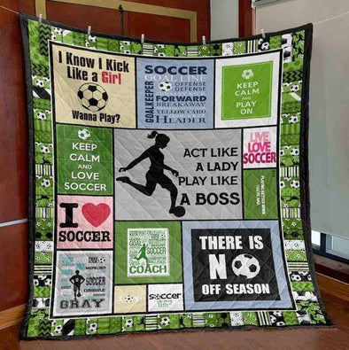 Act like a lady Play like a boss Soccer Girl Player Green Quilt Blanket