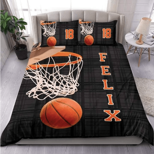 Customized Basketball Hoop Orange Bedding Set with your name