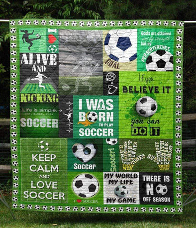 I was born to play Soccer Green Quilt Blanket